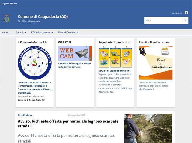 E' online il nuovo sito del Comune di Cappadocia (AQ)
