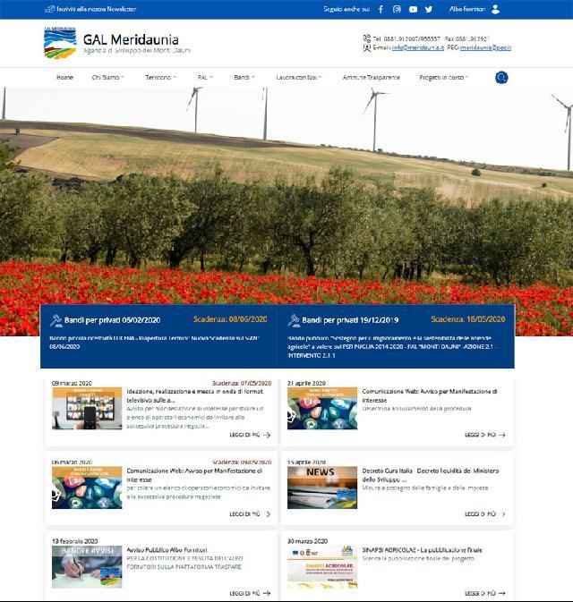 E' online il nuovo sito del Gal Meridaunia scarl